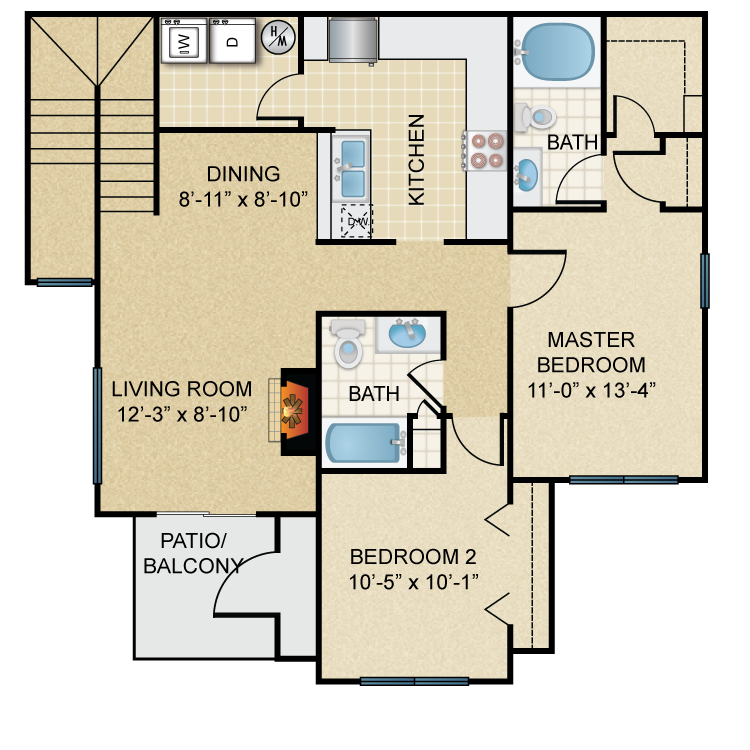 Two Bedroom, Two Bath (C1)