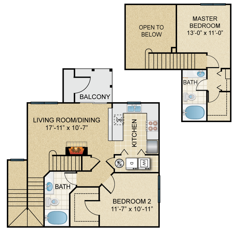Two Bedroom, Two Bathroom Townhome (C2TH)