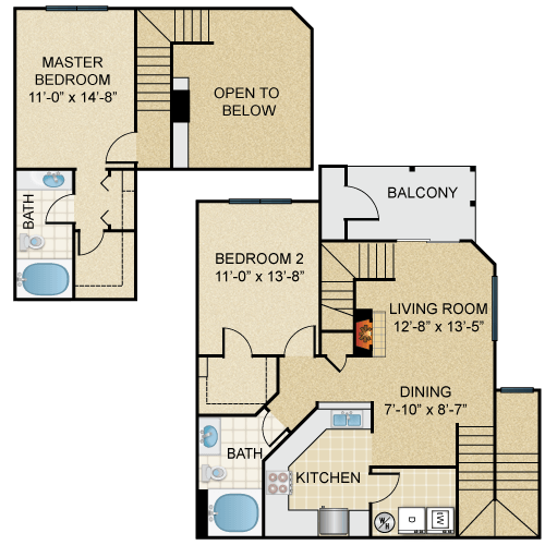 Two Bedroom, Two Bathroom Townhome