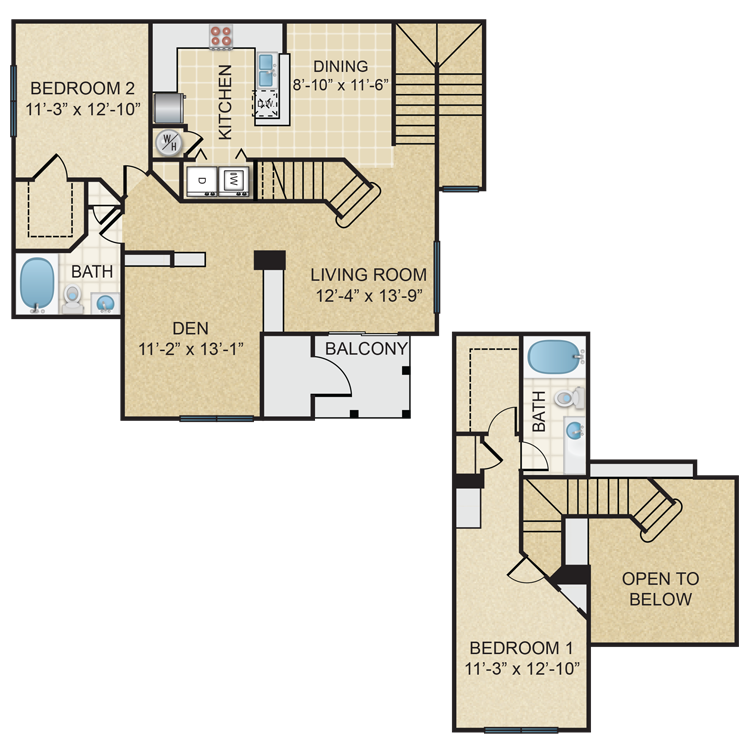 Two Bedroom, Two Bathroom Townhome (C4TH)
