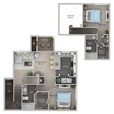 Two Bedroom, Two Bathroom Townhome (C2THr)