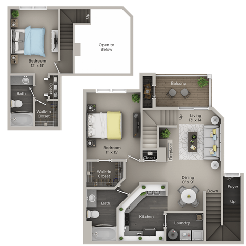 Two Bedroom, Two Bathroom Townhome (C3THr)
