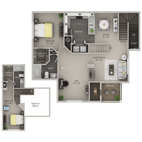 Two Bedroom, Two Bathroom Townhome Upgraded (C4THr)
