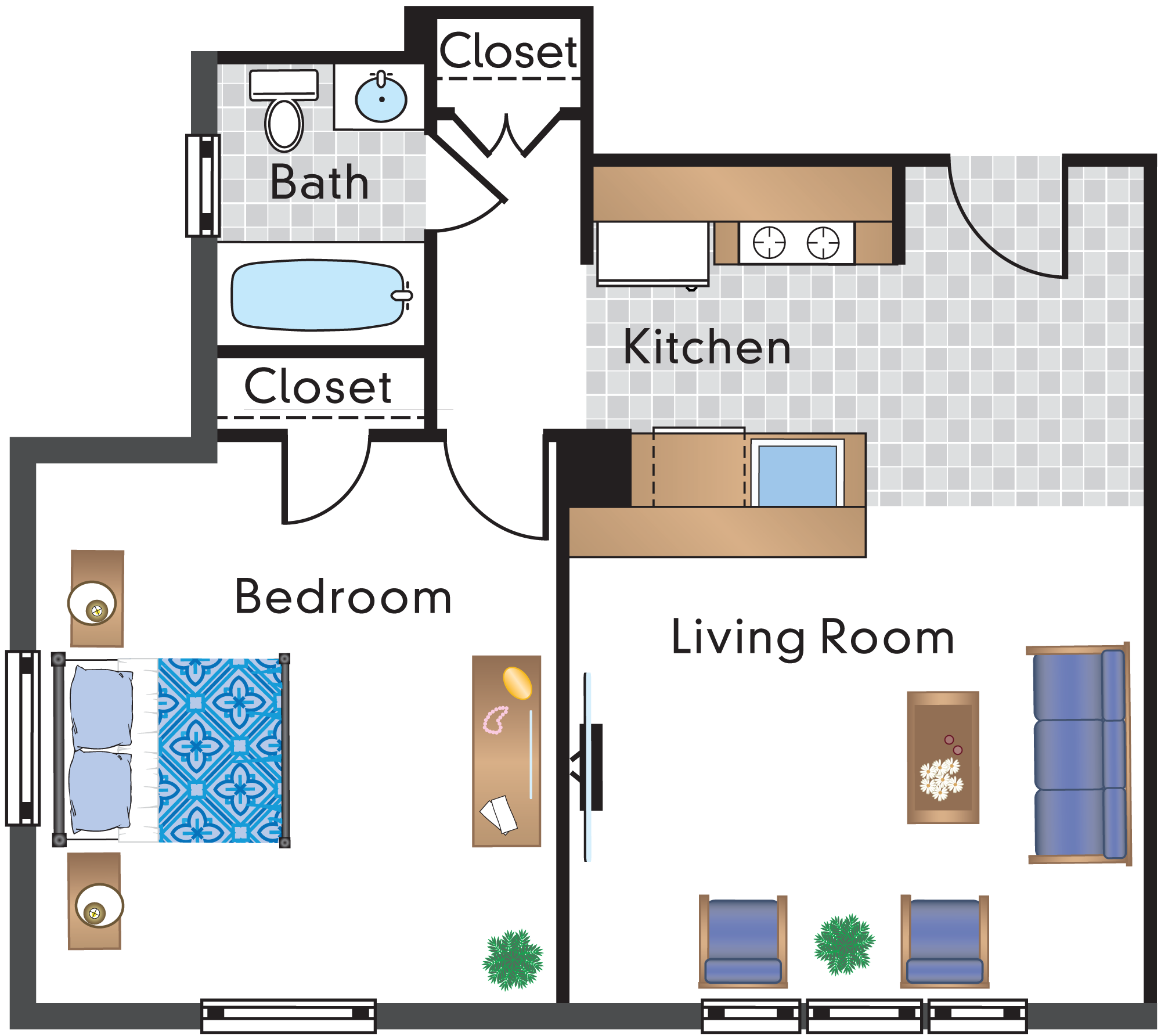 1 Bedroom 1 Bath Tier 1