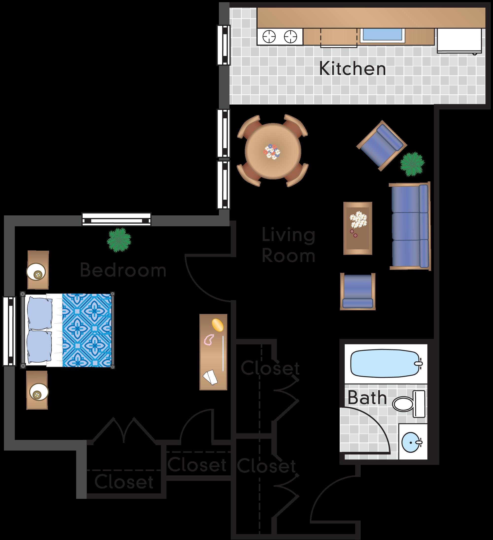 1 Bedroom 1 Bath Tier 01A
