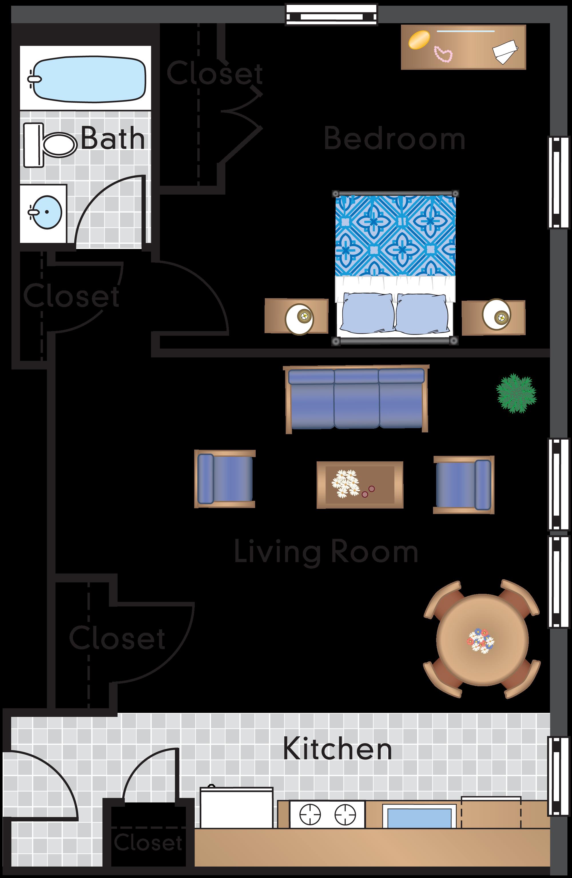 1 Bedroom 1 Bath Tier 03