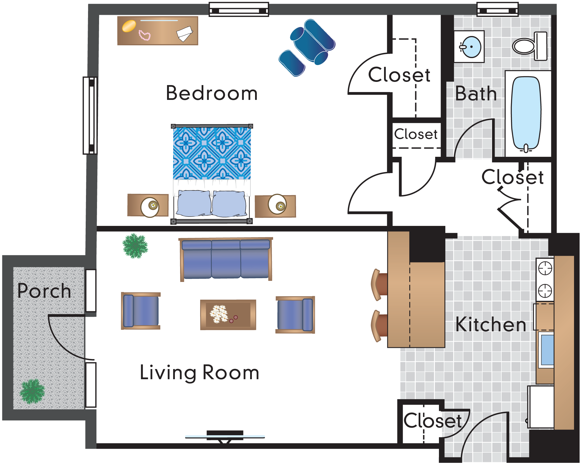1 Bedroom 1 Bath Tier 03A