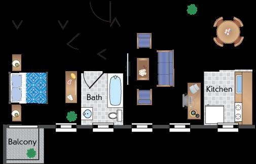 1 Bedroom 1 Bath With Balcony 04 Tier