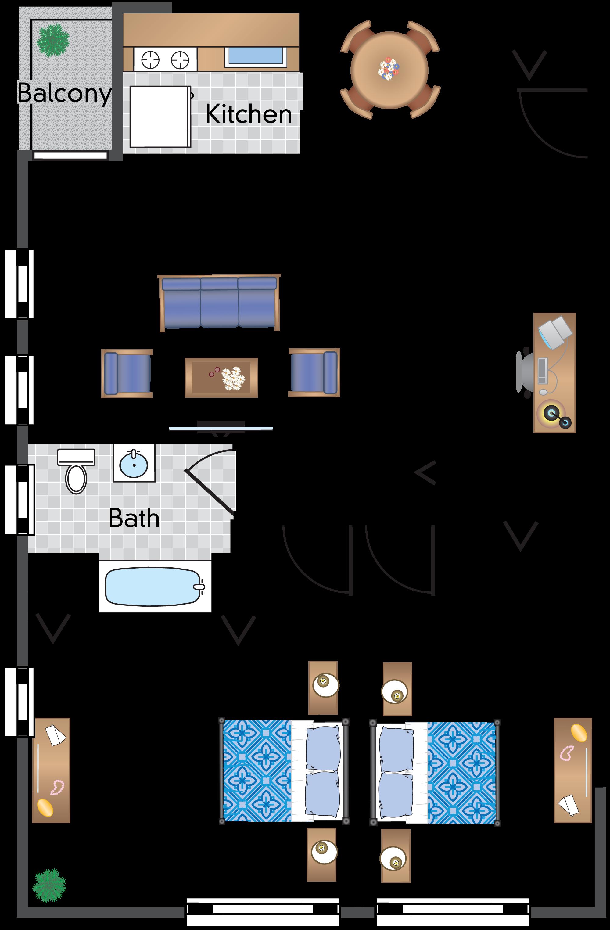 2 Bedroom 1 Bath With Balcony 06 Tier