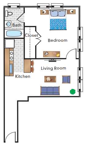 1 Bedroom 1 Bath 18 Tier
