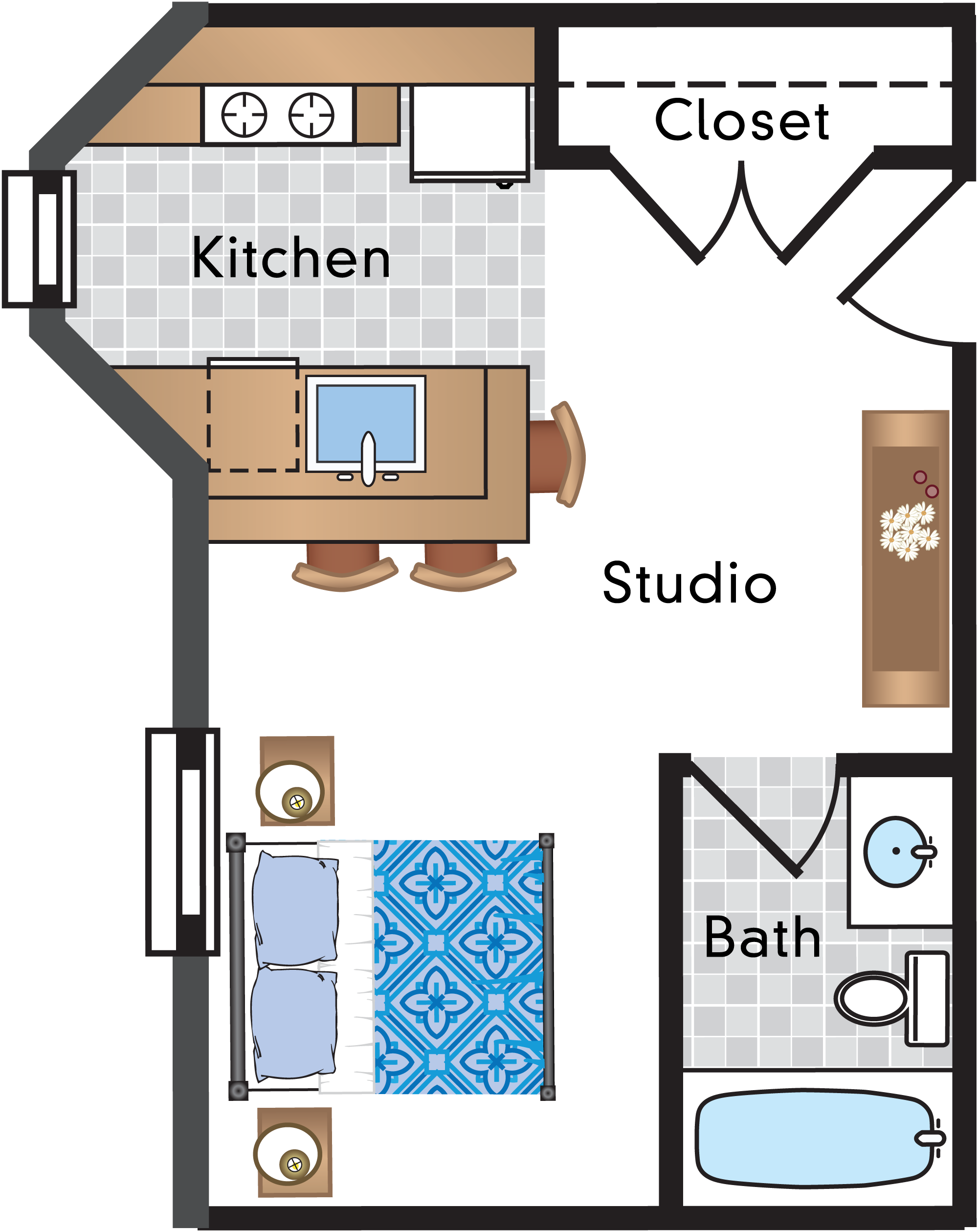 Studio   1 Bath