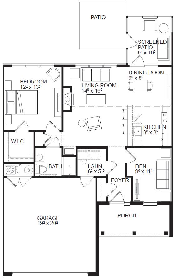 One Bedroom floor plan, top view