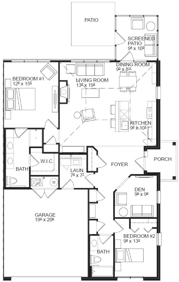 Two Bedroom Deluxe floor plan, top view