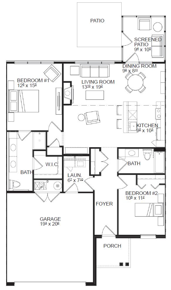 Two Bedroom floor plan, top view