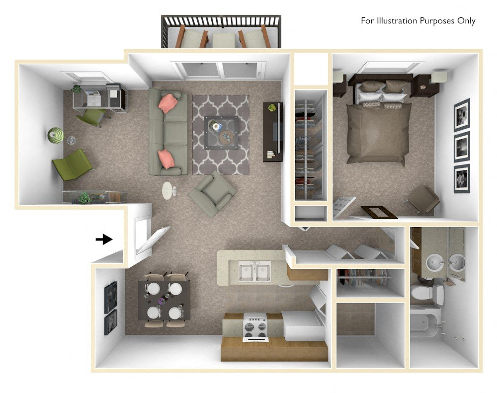 1-Bed/1-Bath, Bluebell Deluxe at Bristol Square floor plan, top view
