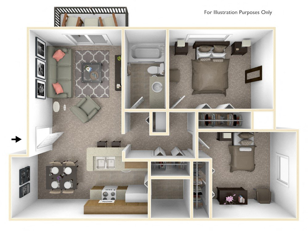 2-Bed/1-Bath, Daffodil at Bristol Square floor plan, top view