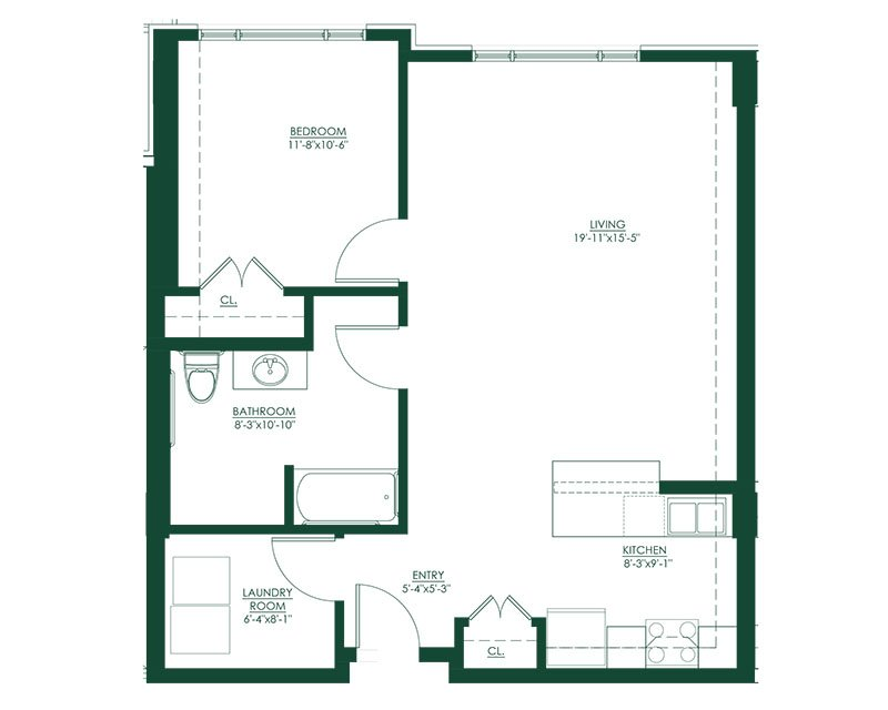 1 Bed 1 Bath B Type A Floor Plan