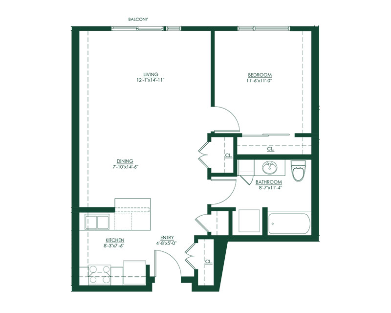 1 Bed 1 Bath C Floor Plan