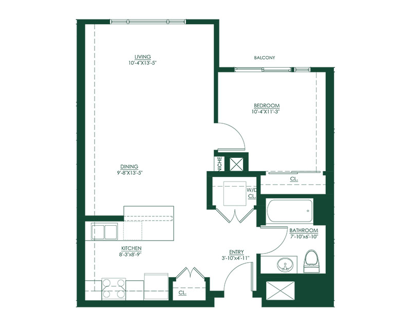 1 Bed 1 Bath F Floor Plan