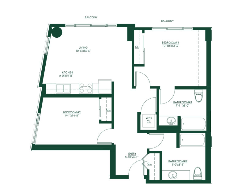2 Bed 2 Bath A Master Suite Floor Plan