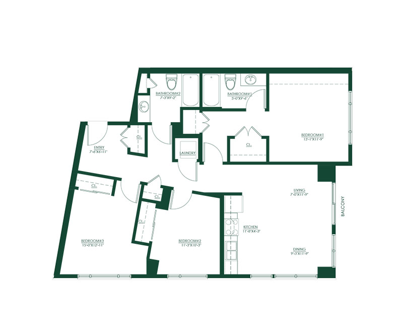 3 Bed 2 Bath B Master Suite Floor Plan