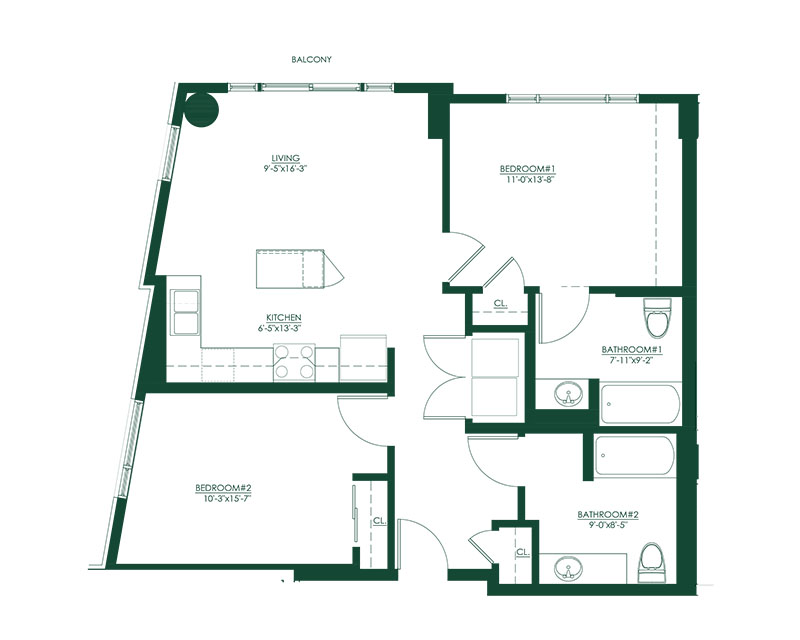 2 Bed 2 Bath A Type A Floor Plan