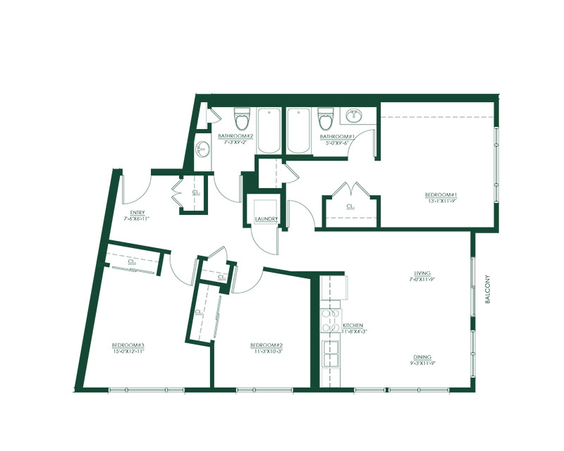 3 Bed 2 Bath B Floor Plan