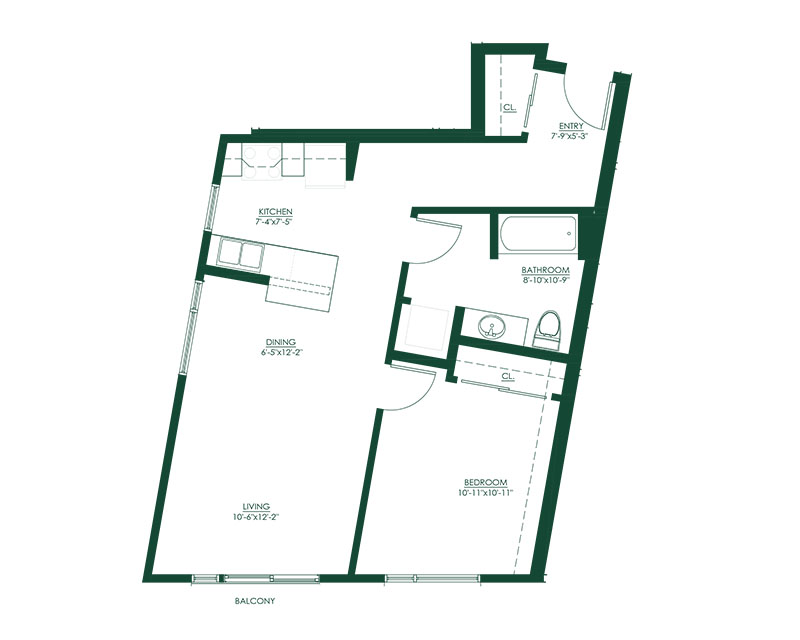1 Bed 1 Bath D Floor Plan