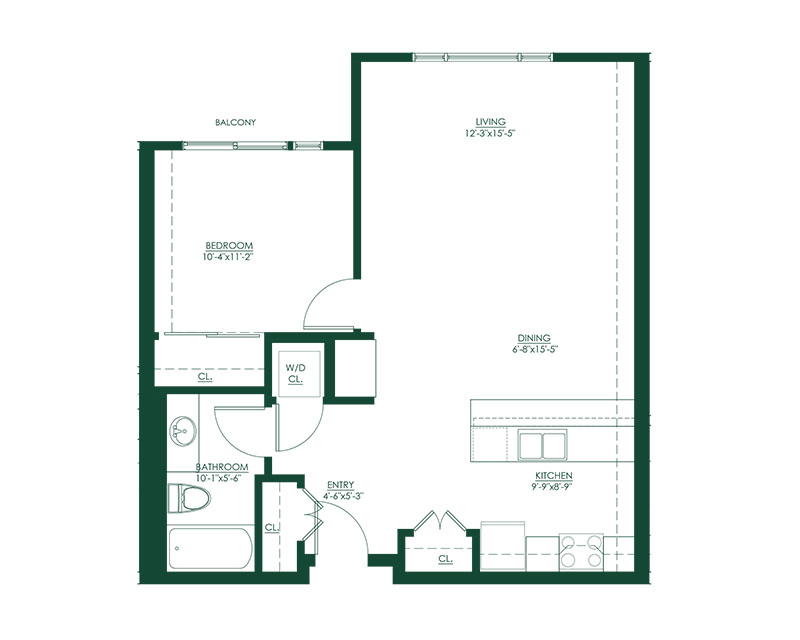 1 Bed 1 Bath G Floor Plan