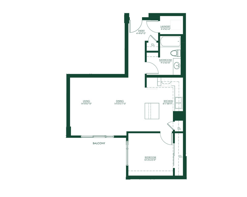 1 Bed 1 Bath E Master Suite Floor Plan