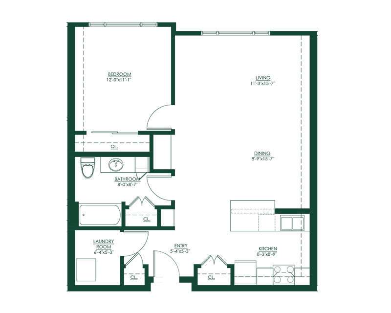 1 Bed 1 Bath B Floor Plan