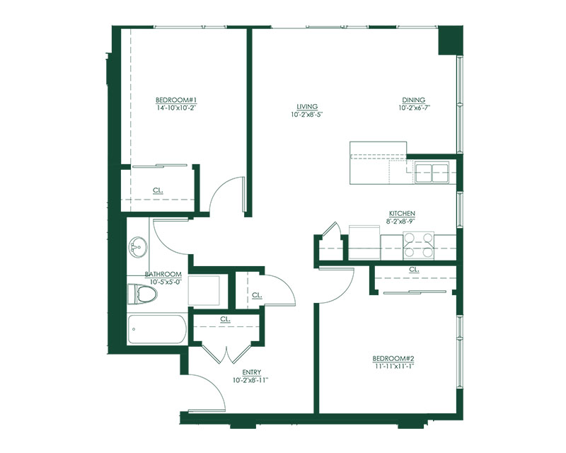 2 Bed 1 Bath A Master Suite Floor Plan