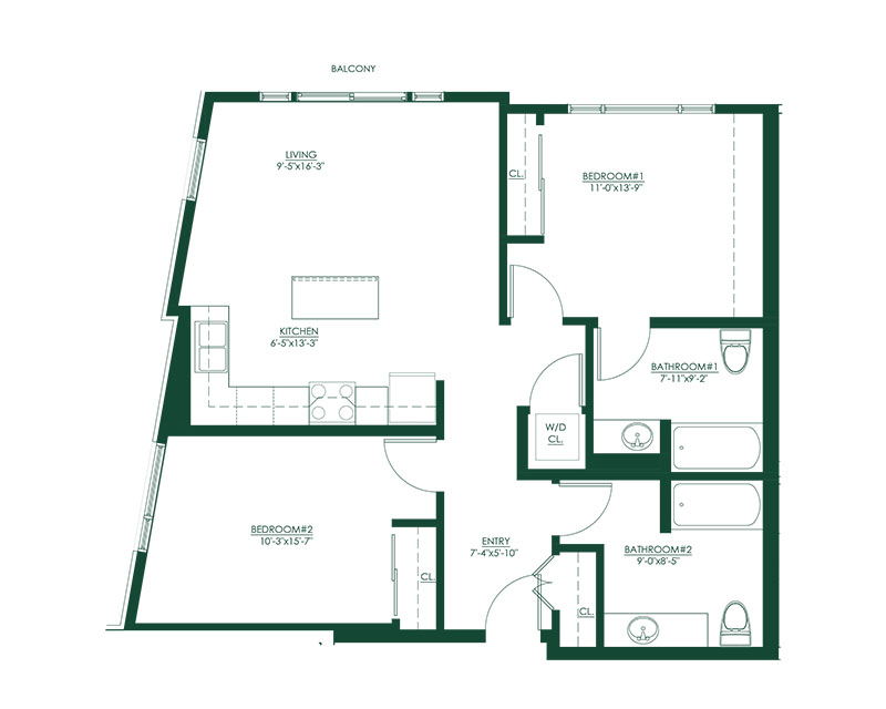 2 Bed 2 Bath A Floor Plan