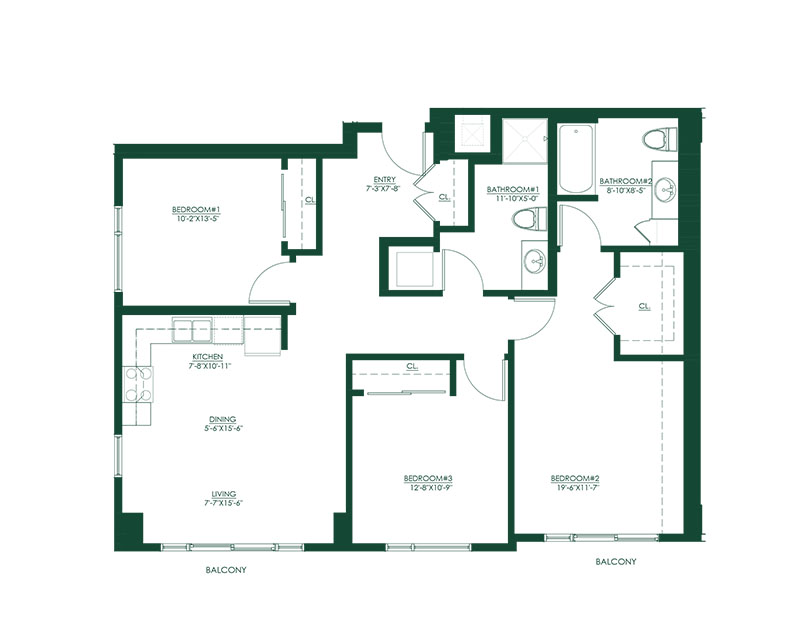 3 Bed 2 Bath A Master Suite Floor Plan