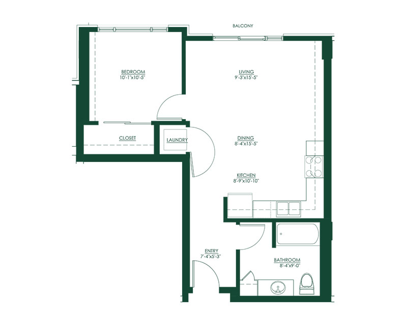 1 Bed 1 Bath H Floor Plan