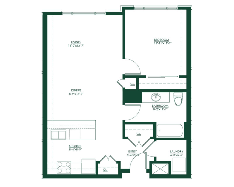 1 Bed 1 Bath A Floor Plan