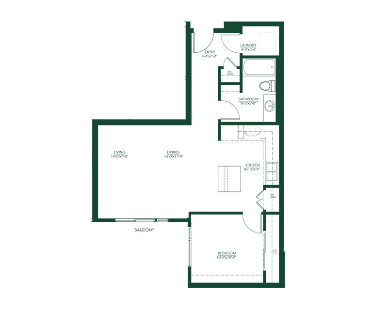 1 Bed 1 Bath E Floor Plan