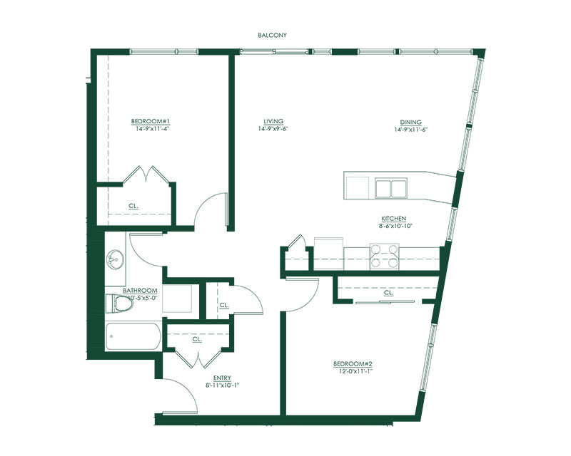2 Bed 1 Bath A Floor Plan