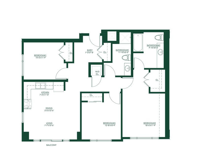 3 Bed 2 Bath A Type A Floor Plan