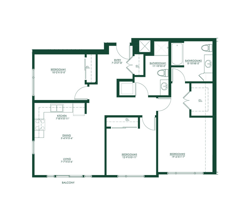 3 Bed 2 Bath A Floor Plan