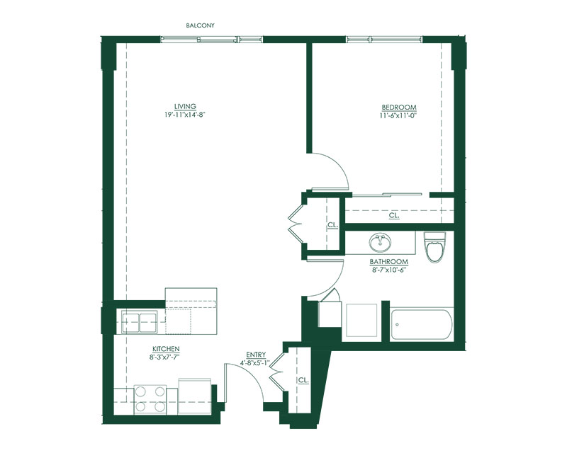 1 Bed 1 Bath C Master Suite Floor Plan