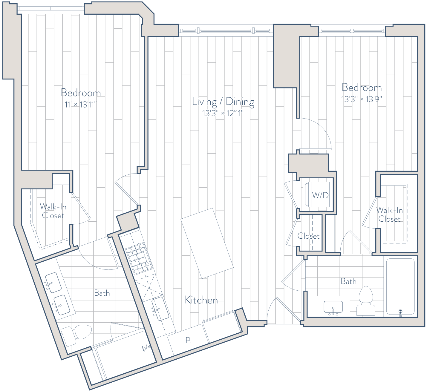Floor plan of apartment 1023
