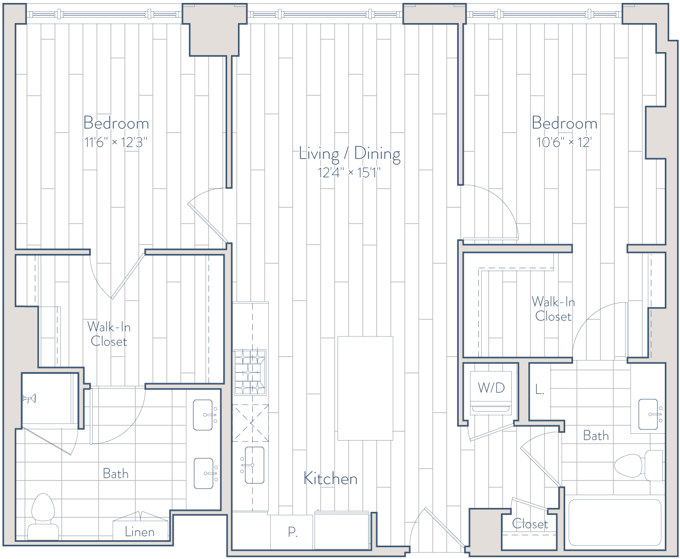 Floor plan of apartment 1032