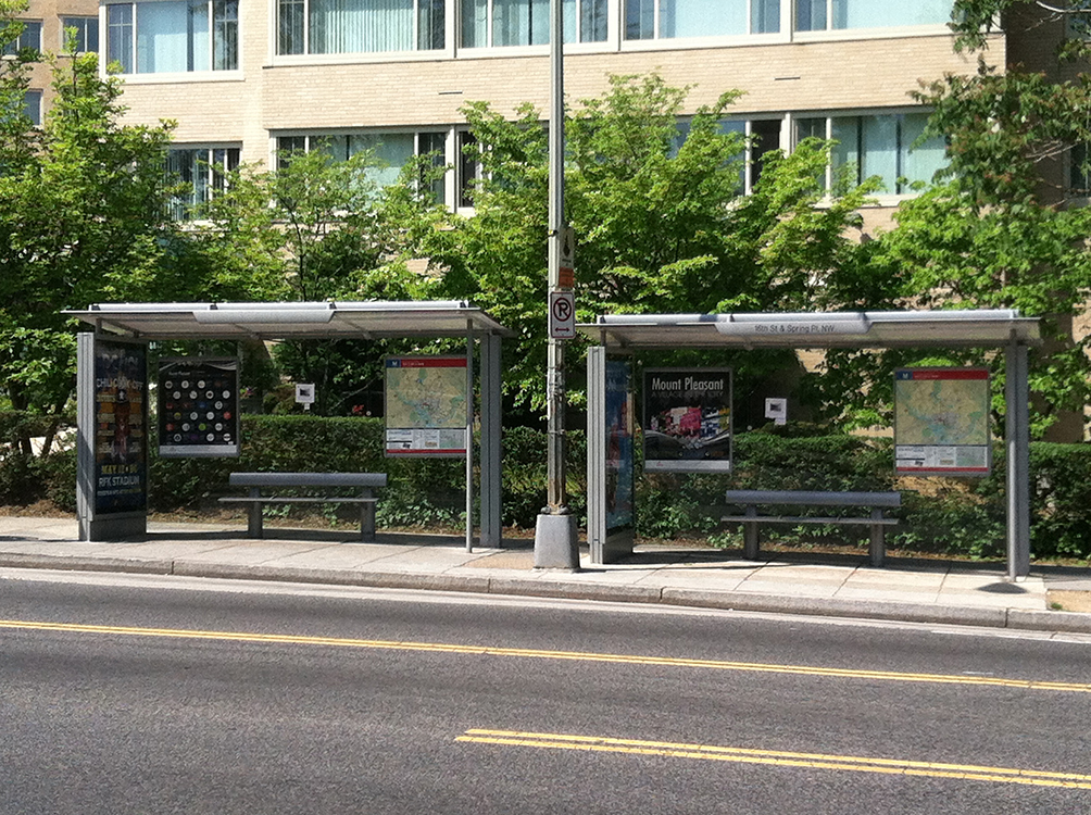 Bus stop across the street from Pershing House