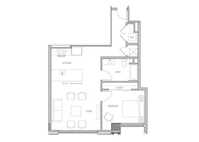 Park Fifth Tower 1 BD-B8 Floorplan