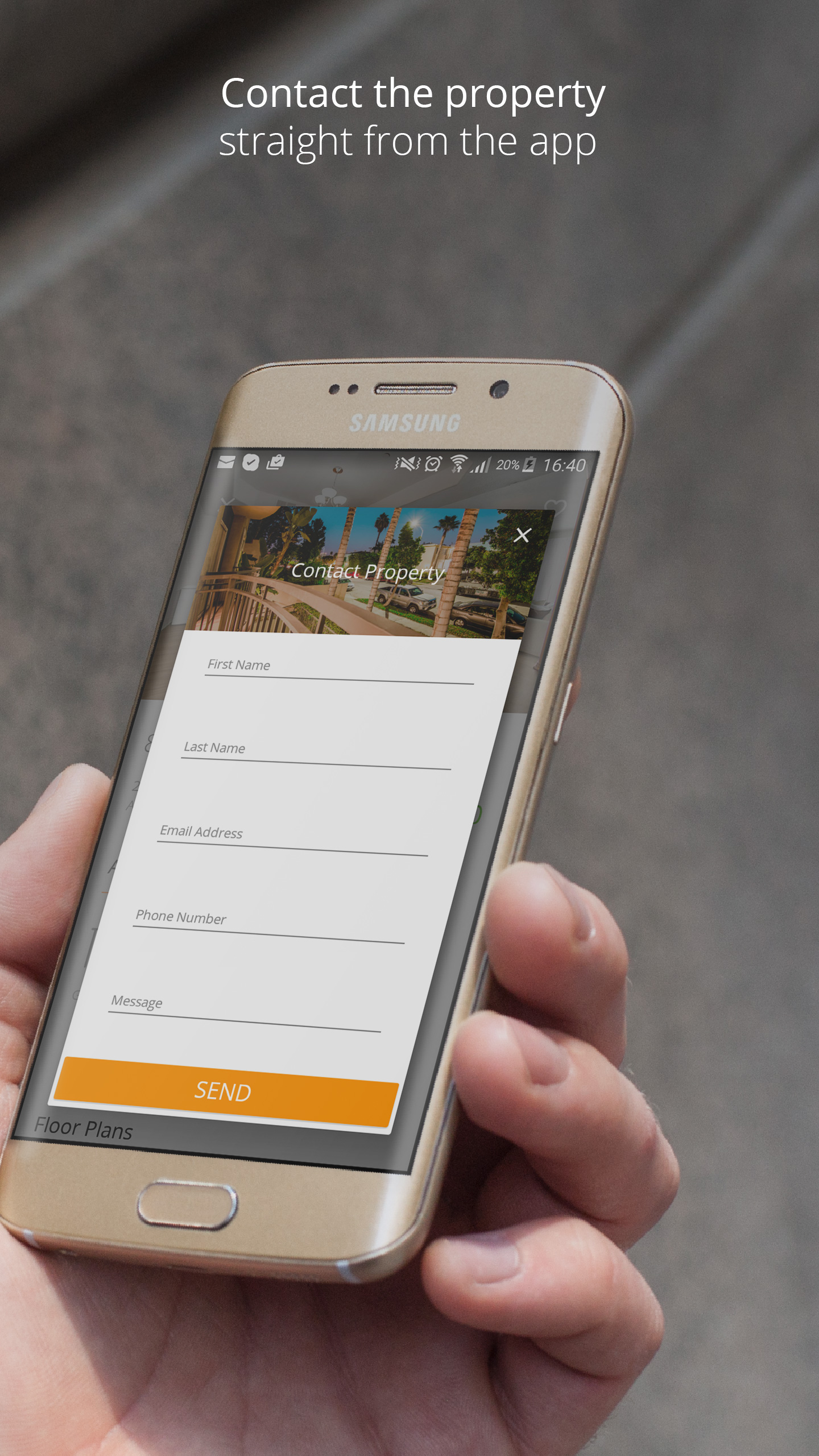 Contact the property straight from the app